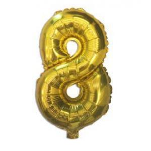 """Шарик цифра """"8"""" ЗОЛОТО, 40 см (14 дюймов)"""