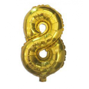 "Кулька цифра ""8"" ЗОЛОТО, 40 см (14 дюймів)"