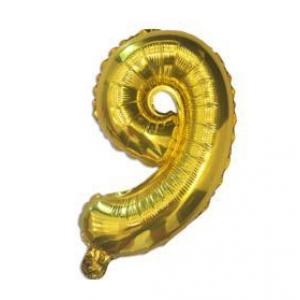 "Кулька цифра ""9"" ЗОЛОТО, 40 см (14 дюймів)"