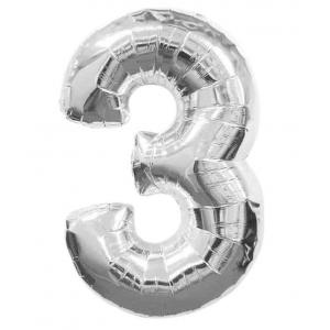 """Кулька цифра """"3"""" СРІБЛО, 70 см (30 дюймів)"""