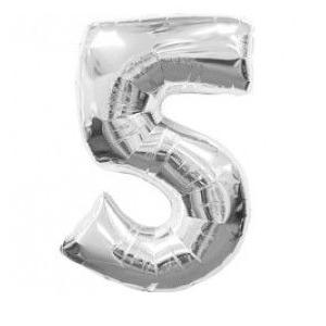 """Кулька цифра """"5"""" СРІБЛО, 70 см (30 дюймів)"""