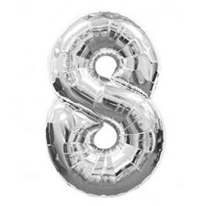"""Кулька цифра """"8"""" СРІБЛО, 70 см (30 дюймів)"""
