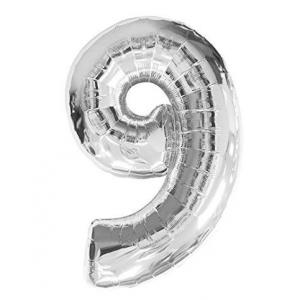 """Кулька цифра """"9"""" СРІБЛО, 70 см (30 дюймів)"""