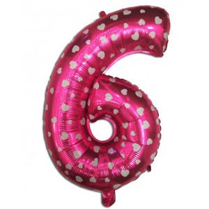 "Кулька цифра ""6"" РОЖЕВА В СЕРДЕЧКО, 70 см (30 дюймів)"