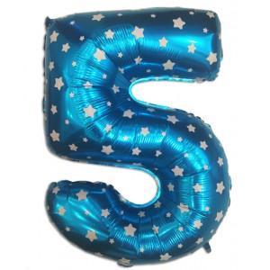"""Кулька цифра """"5"""" СИНЯ В ЗІРОЧКУ, 70 см (30 дюймів)"""