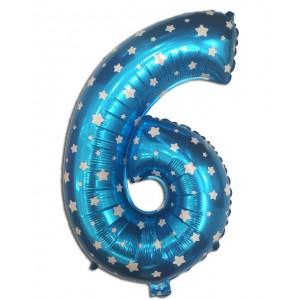 """Кулька цифра """"6"""" СИНЯ В ЗІРОЧКУ, 70 см (30 дюймів)"""