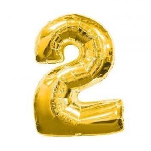 "Кулька цифра ""2"" ЗОЛОТО, 70 см (30 дюймів)"
