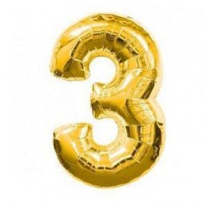 """Шарик цифра """"3"""" ЗОЛОТО, 70 см (30 дюймов)"""