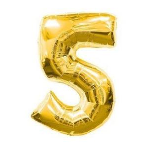 "Кулька цифра ""5"" ЗОЛОТО, 70 см (30 дюймів)"
