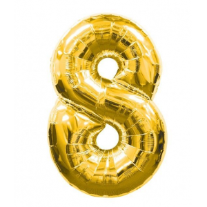 "Кулька цифра ""8"" ЗОЛОТО, 70 см (30 дюймів)"