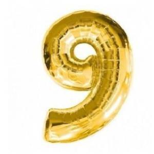 "Кулька цифра ""9"" ЗОЛОТО, 70 см (30 дюймів)"