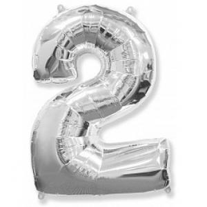 """Кулька цифра """"2"""" СРІБЛО, 90 см (40 дюймів)"""