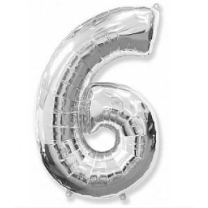"""Кулька цифра """"6"""" СРІБЛО, 100 см (42 дюймів) FLEXMETAL"""
