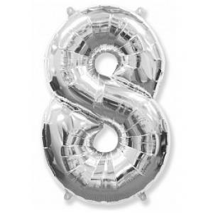 """Кулька цифра """"8"""" СРІБЛО, 100 см (42 дюймів) FLEXMETAL"""