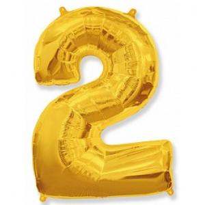 """Кулька цифра """"2"""" ЗОЛОТО, 100 см (42 дюймів) FLEXMETAL"""