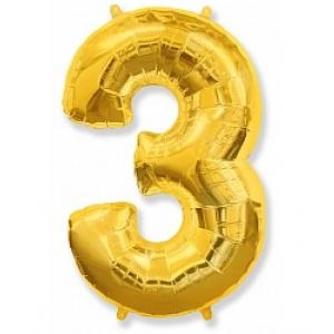 """Кулька цифра """"3"""" ЗОЛОТО, 100 см (42 дюймів) FLEXMETAL"""