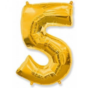 "Кулька цифра ""5"" ЗОЛОТО, 90 см (40 дюймів)"