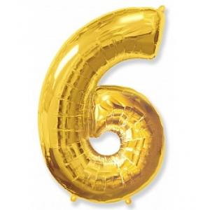"""Кулька цифра """"6"""" ЗОЛОТО, 100 см (42 дюймів) FLEXMETAL"""