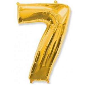 """Кулька цифра """"7"""" ЗОЛОТО, 100 см (42 дюймів) FLEXMETAL"""