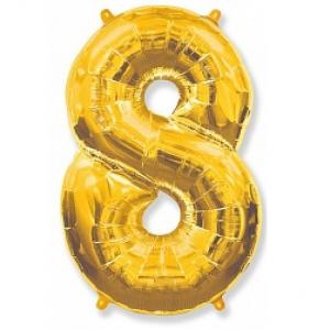 """Кулька цифра """"8"""" ЗОЛОТО, 100 см (42 дюймів) FLEXMETAL"""
