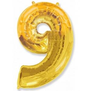 """Кулька цифра """"9"""" ЗОЛОТО, 100 см (42 дюймів) FLEXMETAL"""