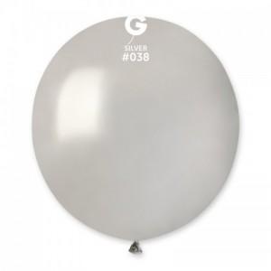 Повітряна кулька 19 дюймів (48 см) СРІБЛО металік